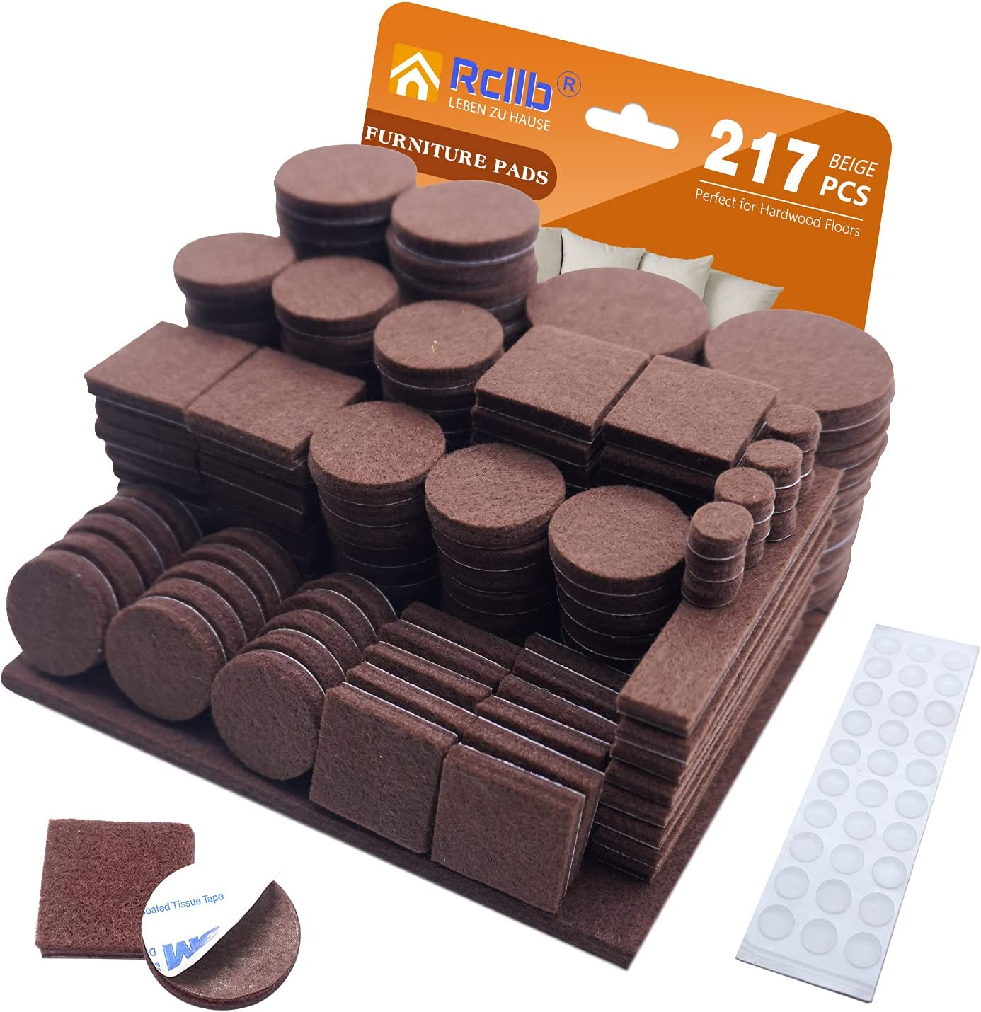 Felt Furniture Pads,217 Pieces All Sizes Felt Pads 5mm Thick Anti Scratch Wood Floor Protectors Self Adhesive with 30 Cabinet Door Bumpers for Furniture Table Chair Legs Feet Hardwood Floor(Brown)