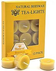 12pcs Natural Beeswax tealight Candles - Natural Scent Smokeless