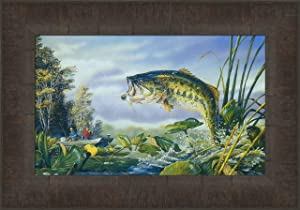 First Strike by Terry Doughty 11x15 Largemouth Bass Fishing Fish Jumping Framed Art Print Wall Décor Picture
