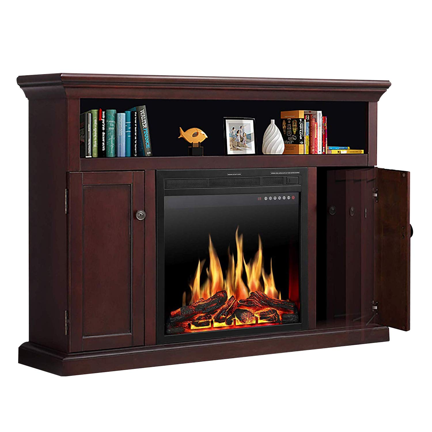 """JAMFLY Wood Electric Fireplace Mantel TV Stand Package up to 55"""" TV, Media Fireplace Console with Remote Control, LED Touch Screen and Multicolor Flames 750/1500W Dark Espresso Finish"""