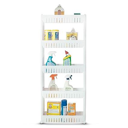 Amazoncom Bathroom and Kitchen Slim Storage Cart Slide Out Shelf