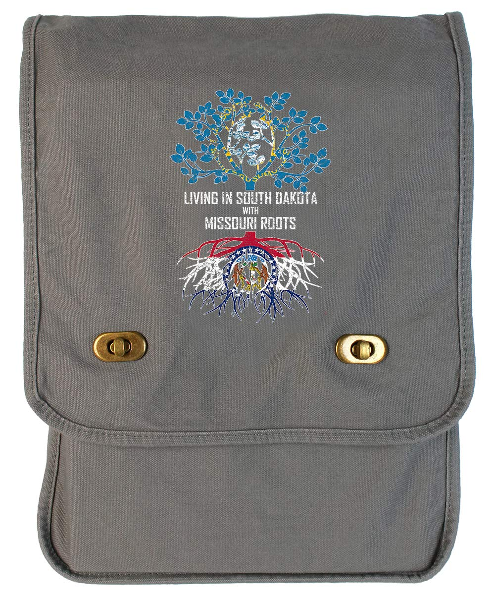Tenacitee Living In South Dakota with Missouri Roots Grey Brushed Canvas Messenger Bag