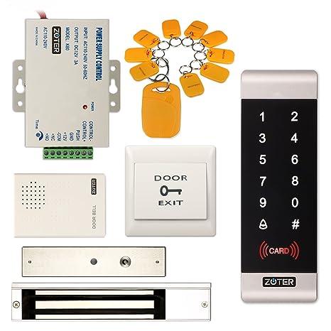 Control de acceso de seguridad RFID Zoter con lector de tarjeta de identificación y teclado