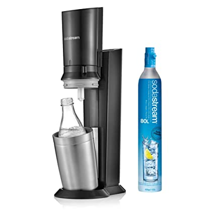 Sodastream Crystal Sparkling Water Maker Black With 0 6 L Glass Bottle 60 L Co2 Cylinder Refillable Convenient Efficient Sparkling Water