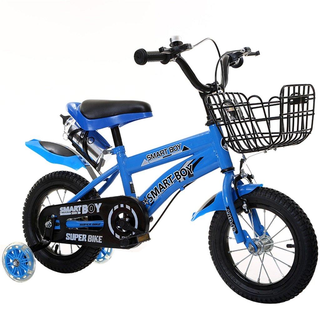 KANGR-子ども用自転車 子供用自転車アウトドアマウンテンバイク2-3-6-8ボーイズとガールズ子供用おもちゃ調節可能ハンドルバー/フラッシュトレーニングホイール付きサドルウォーターボトルとホルダー-12 / 14/16/18インチ ( 色 : 青 , サイズ さいず : 16 inch ) B07BTV5J9R 16 inch|青 青 16 inch