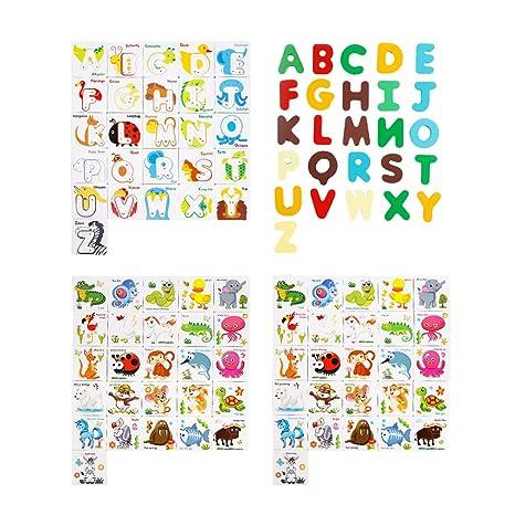Toyvian 26 Cartas con Letras de Madera de Dibujos Animados ...