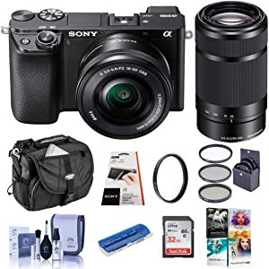 Sony Alpha a6100 Mirrorless Camera with 16-50mm and 55-210mm Lenses - Bundle with Camera Case, 32GB SDHC Card, 40.5mm Filter Kit, 49mm UV Filter, Card Reader, LCD Protector, Cleaning Kit, PC Software