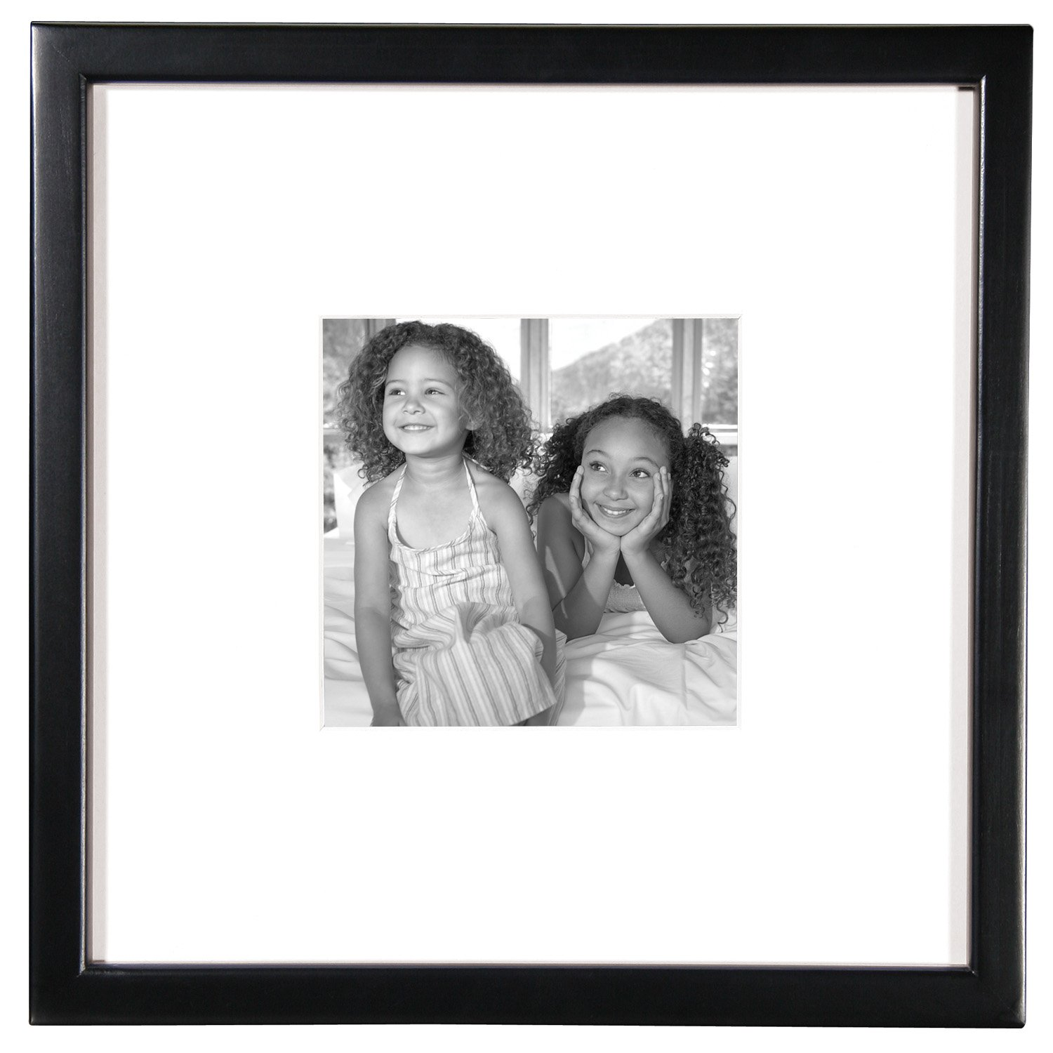 MCS 12x12 Inch East Village Collage Frame with 6x6 Inch Mat Opening, Black (65592) by MCS