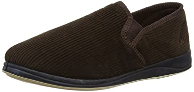 902763c8bd87d3 Image Unavailable. Image not available for. Color: Padders ALBERT Mens  Corduroy Wide Fit Full Slippers Brown ...