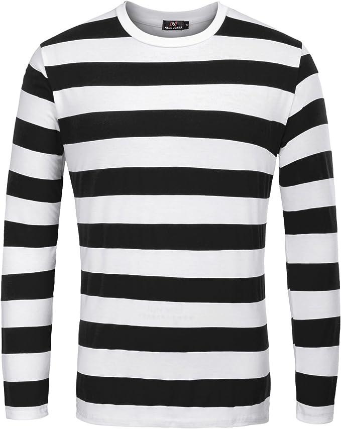 TALLA XL. PaulJones Camiseta Casual de Cuello Redondo a Rayas de Moda para Hombre