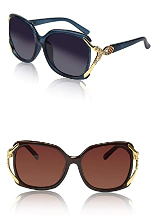 008b5660f2 Woman s Sunglasses Two Chic Fancy Lady Sunnies Cool Plastic Frame Blue  Brown 2
