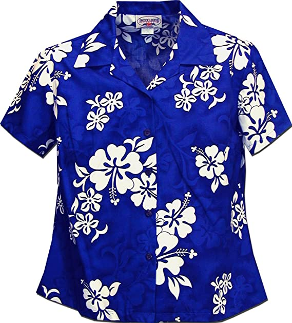 689c8f13a Ladies Blue Hawaiian Shirts White Hibiscus at Amazon Women's Clothing  store: Button Down Shirts