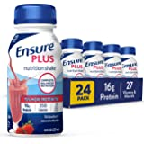 Ensure Plus Nutrition Shake with 16 Grams of High-Quality Protein, Meal Replacement Shakes, Strawberry, 8 Fl Oz, 24 Count