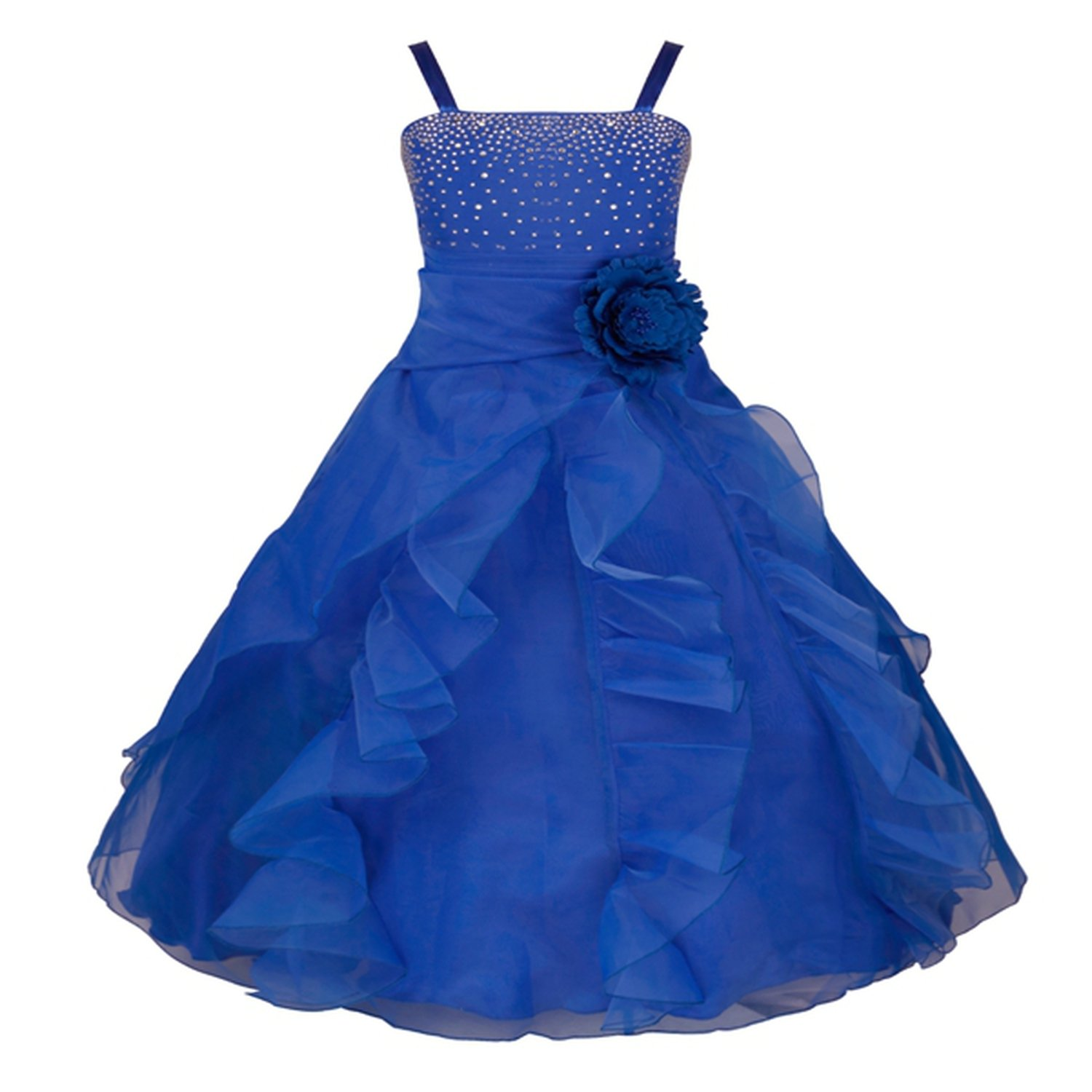 Kids Girls Sleeveless Prom Gown Flower Girl Dresses Princess Wedding Communion Graduation Party Dress with Bowknot 2-14Y,Blue,Child-14
