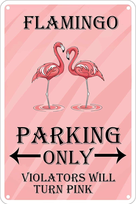 LASMINE Metal Vintage Flamingo Crossing Parking Only Violators Wall Turn Pinktin Outdoor Garden Signs Retro Kitchen Decor Sign Indoor House Door 8X12Inch