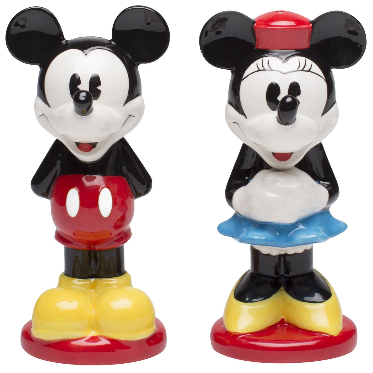 Zak Designs Mickey And Minnie Ceramic Salt & Pepper Shakers, Mickey and Minnie