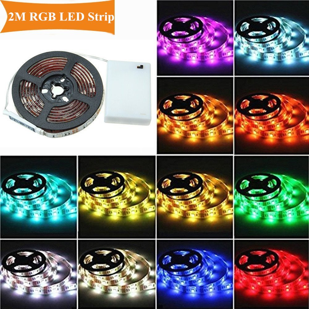 AUDEW 6.6ft RGB 5050 SMD 60 LED Strip Lights with Battery Box Waterproof Craft Hobby Light 14.4W 200cm SYNCHKG079059
