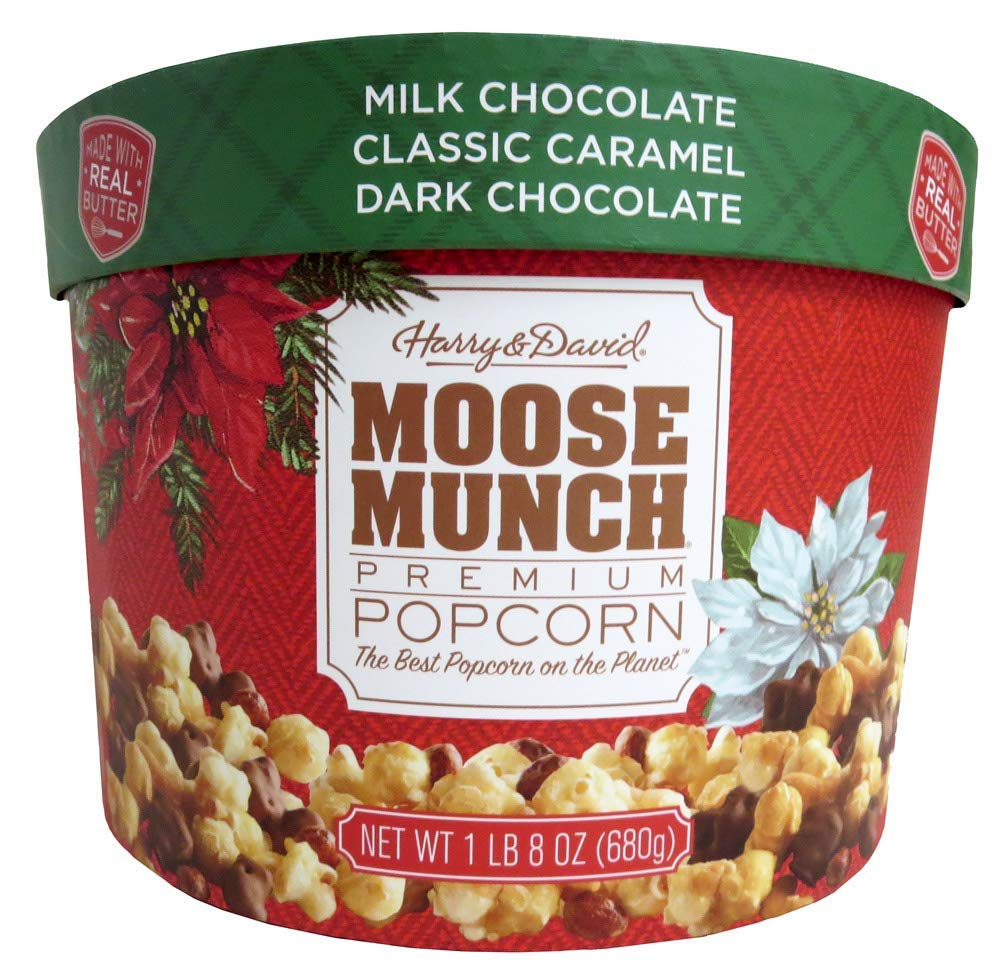 Harry & David Moose Munch Premium Popcorn 24 oz Holiday Drum