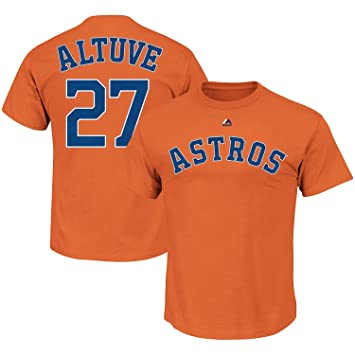 official photos a0860 fb2db OuterStuff Jose Altuve Houston Astros #27 Orange Youth Name and Number Shirt
