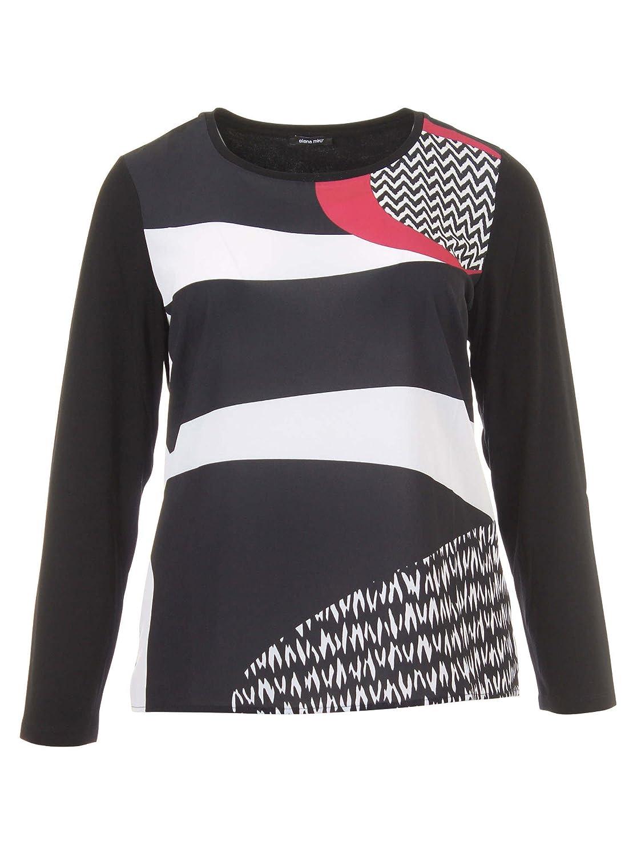 Langarmshirt mit Muster in schwarz/weiß/rot in Übergrößen (L, XL, XXL) von Elena Miro