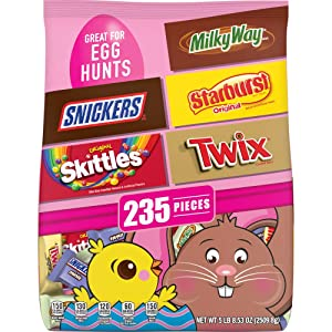Snickers, Skittles, Starburst, Twix and Milky way Easter Candy Bag, 235 Pieces, 88.53 Oz.