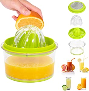 Manual Orange Juicer, Citrus Squeezer, Garlic Grater, Kitchen Gadget Practical, Built-in Measuring Cup 16Oz and Strainer, With Non-Slip Base(Green)