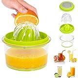 RMAI Manual Orange Juicer, Citrus Squeezer, Garlic Grater, Kitchen Gadget Practical, Built-in Measuring Cup 16Oz and Strainer