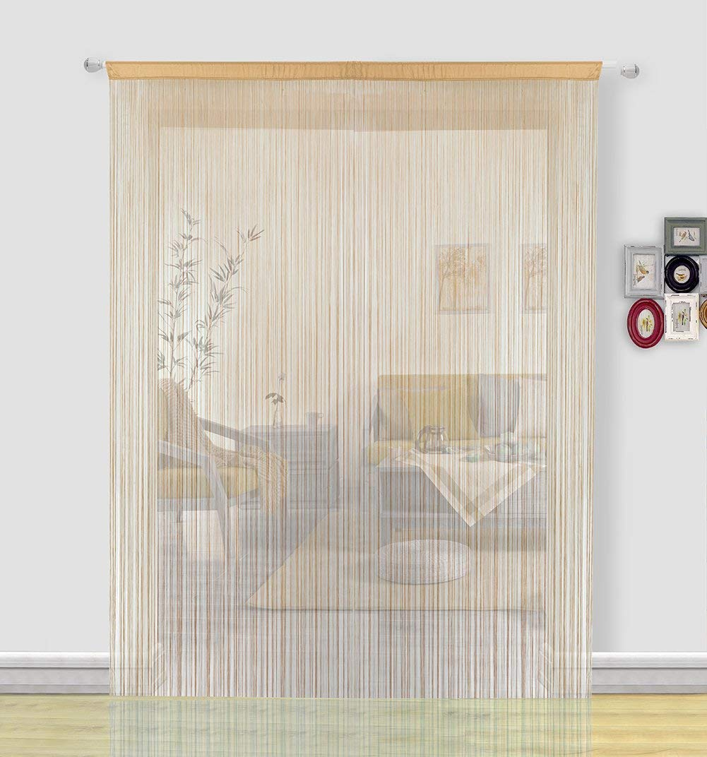 HSYLYM Door Curtains for Kitchen Window Curtains Room Divider Room Decor Fringe Thread Curtain Fly Screen for Living Room(100x200, Beige) Hansheng HS-BTSC001