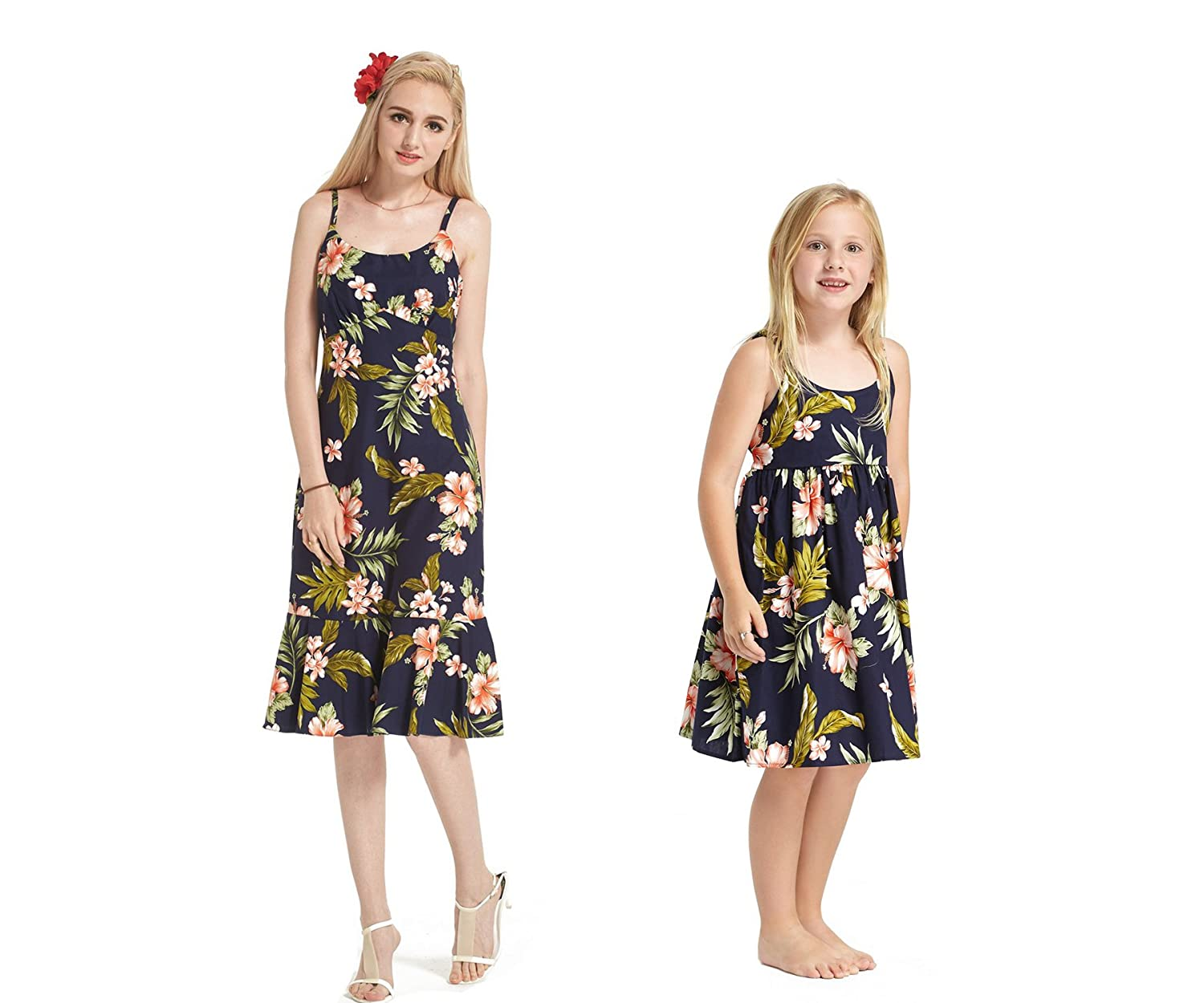 8fe338e81204 Made In Hawaii Matching Mother Daughter Luau Elastic Strap Dress In Navy  Pink Floral
