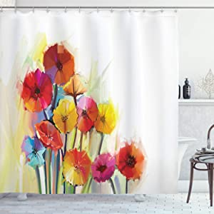 Ambesonne Flower Shower Curtain, Gerbera Bouquets Romantic Floral Arrangement Blossom Side of The Nature, Cloth Fabric Bathroom Decor Set with Hooks, 84