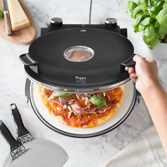 Horno para pizzas Peppo de Springlane Kitchen Máquina para preparar pizzas como al horno de piedra a 350 °C con temporizador e indicador luminoso, ...