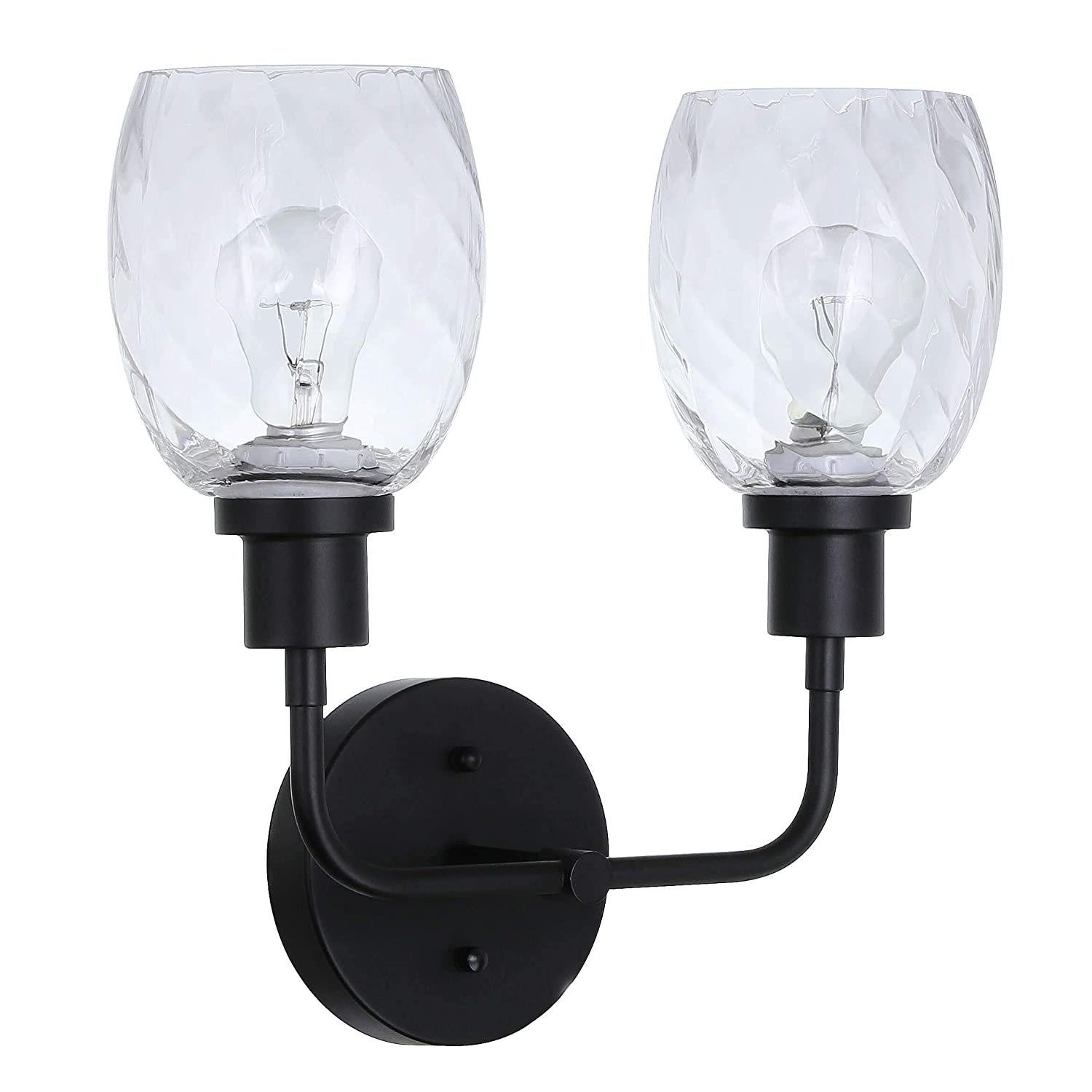 XiNBEi Wall Light 2 Light Wall Lighting with Faceted Glass Modern UP//Down Wall Lamp Matte Black Finish for Bathroom Corridor /& Kitchen XB-W210-2-MBK