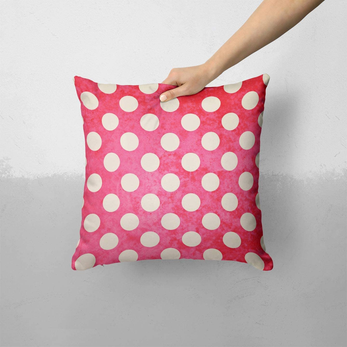 Antique Red and White Polkadot Pattern - Custom Decorative Home Decor Indoor or Outdoor Throw Pillow Cover Plus Cushion Set for Sofa, Bed or Couch (Pillow CASE Cover Plus Cushion)
