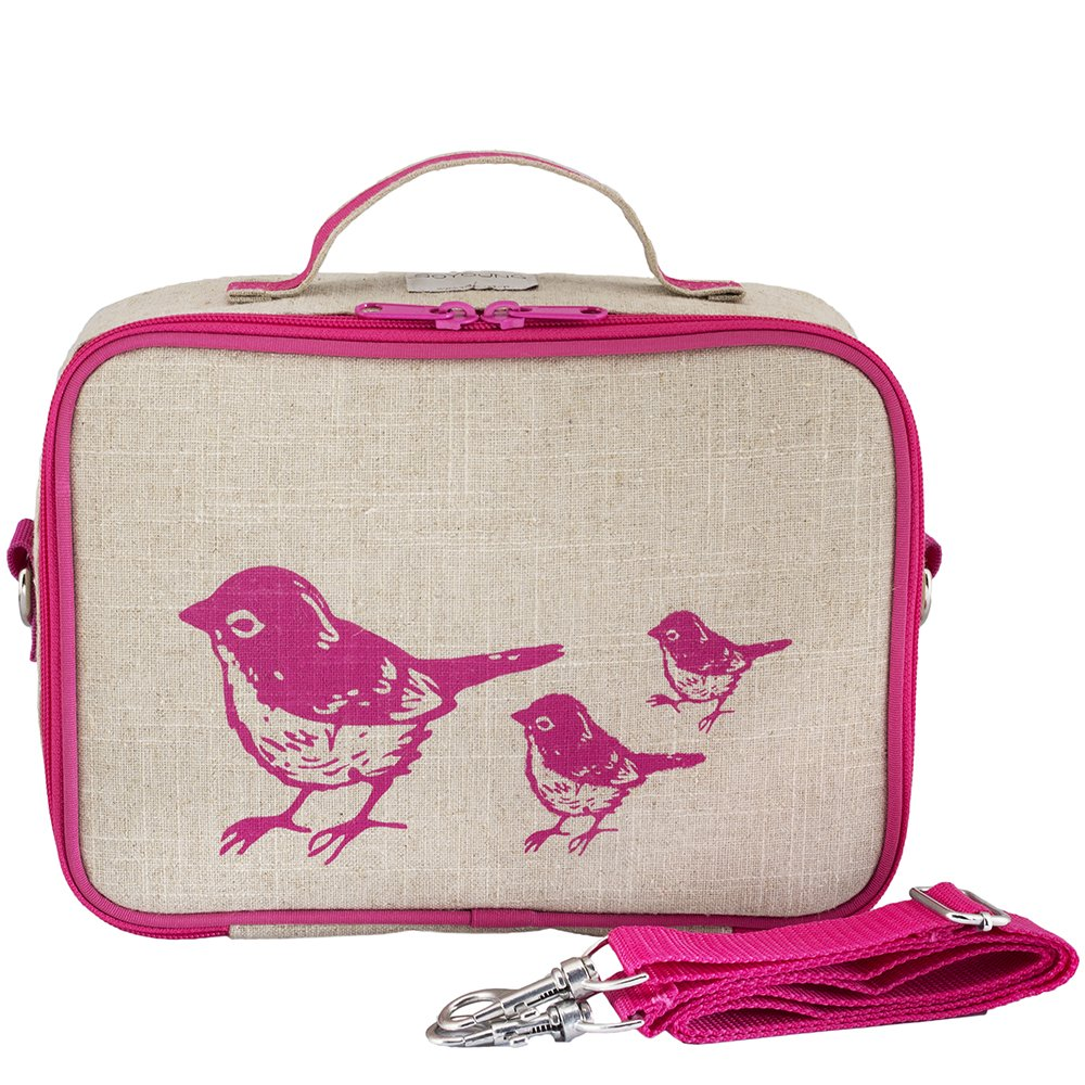 SoYoung Pink Birds Raw Linen Insulated Lunch Box