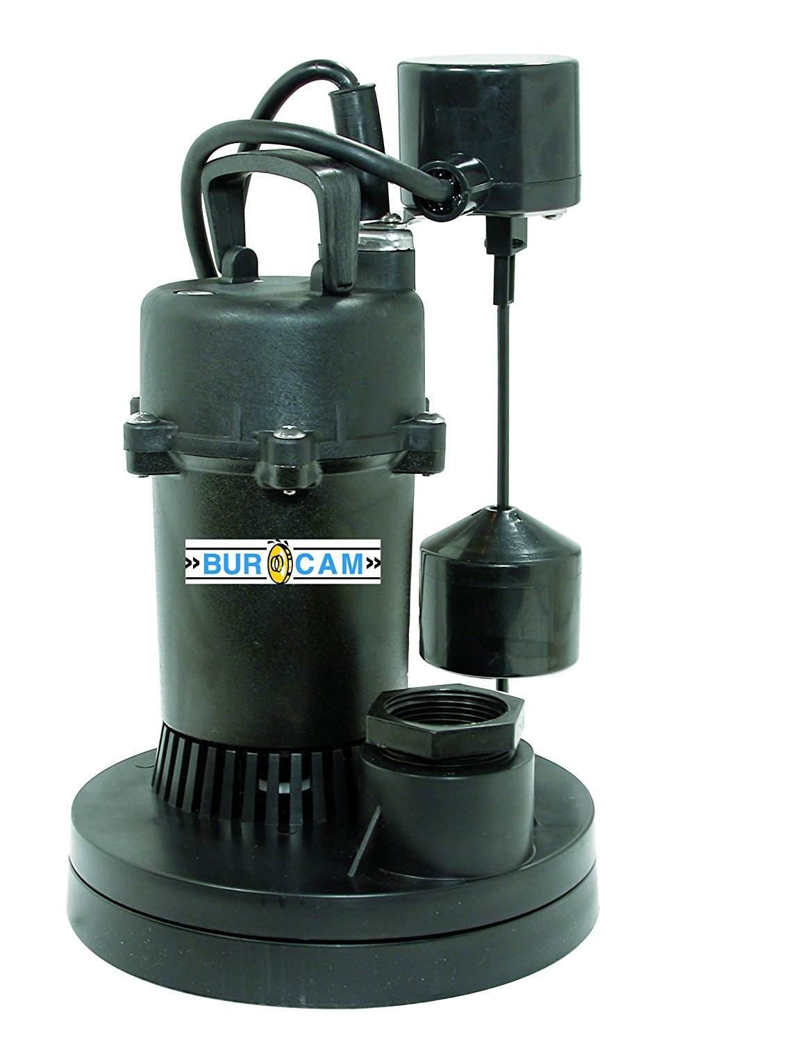 BurCam 300610 Submersible Sump Pump, 1.5'' Discharge with 1.25'' Reducer, 1/3 hp, Vertical Switch, 3000 GPH Max