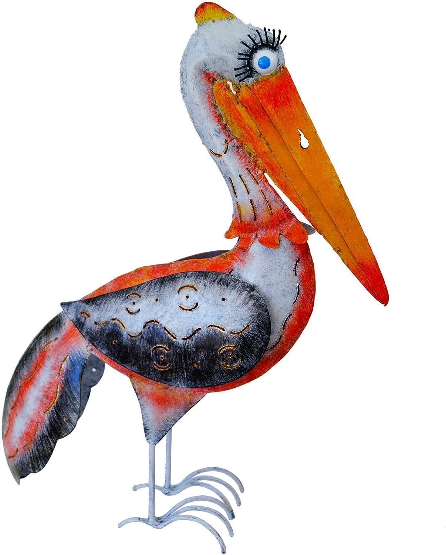 Amicaso Windlicht Garten Vogel Pelikan Metall Dekoration wetterfest 52 cm hoch