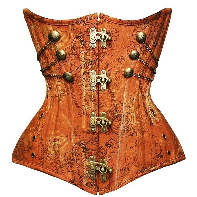 Steampunk Costume Essentials for Women Bslingerie Gothic Steampunk Heavy Duty Waist Cincher Underbust Corset $39.99 AT vintagedancer.com