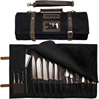 ExecuChef Waxed Canvas Knife Roll | 15 Knife Slots, Card Holder and a Large Zippered Pocket | Genuine Top Grain Leather…
