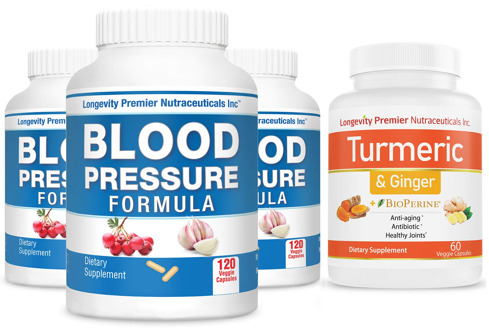 [3-Bottle Bonus Pack] Longevity Blood Pressure Formula 120 caps x 3 Bottles + 1 Free Bottle of Turmeric Curcumin with Ginger [60 Veggie Capsules]
