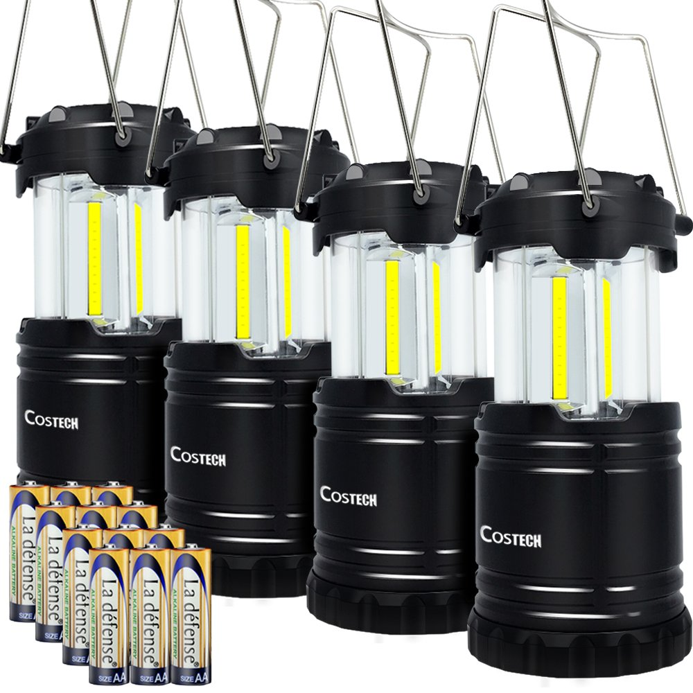LED Camping Lantern, Costech Cob Light Ultra Bright Collapsible Lamp, Portable Hanging Flashlight for Outdoor Garden Hiking Fishing (4 Pack)