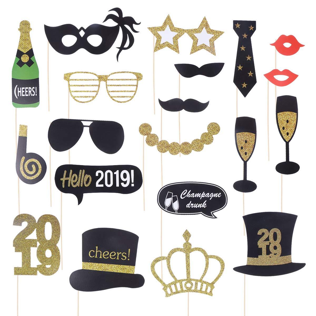 BESTOYARD 2019 Feliz Año Nuevo Kit de accesorios de Photo Booth Accesorios de fiesta de año nuevo divertidos con palos de bambú Brillo de accesorios de Photo Booth para Nochevieja Suministros de decoración de fiesta - 20 Paquete