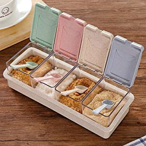 Seasoning Box 4 Piece Clear Spice Box Storage Container for Salt Sugar ketchup