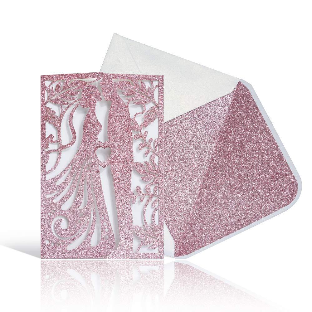 Laser Cut Wedding Invitations with Envelopes -25pcs 4.7''*7'' Kiss Lover Wedding invites Cards Kitwith Printable Inner Sheet,White+Pink Glitter Envelopes for Wedding Anniversary(Pink Glitter)