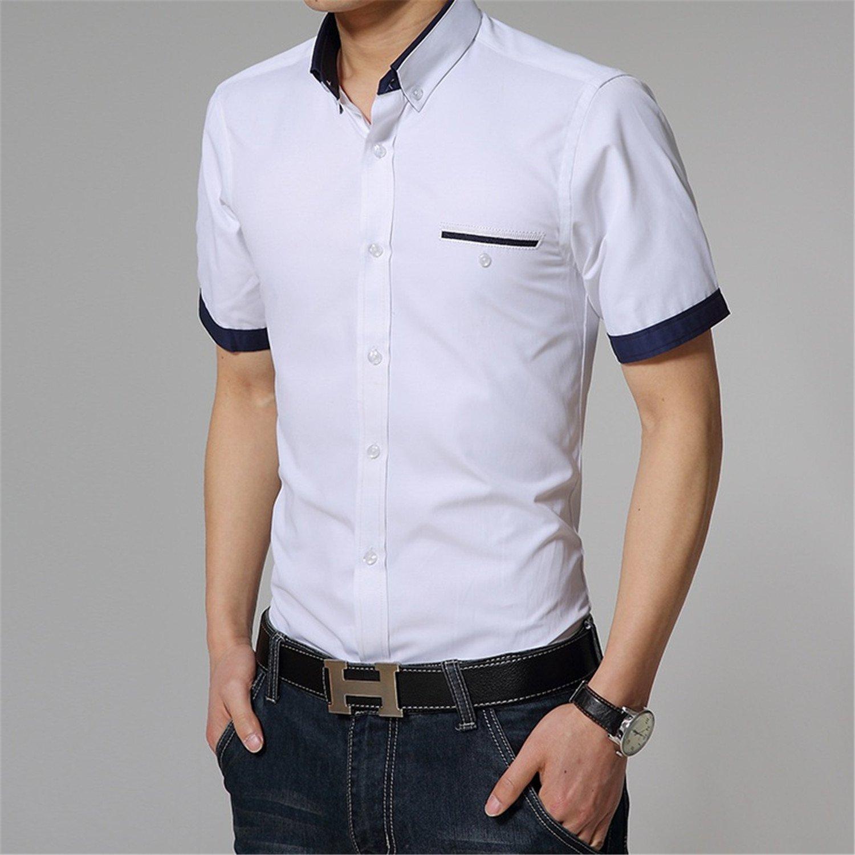 Amazon Vazpue Shirtsnew Fashion Contrast Color Collar Men Shirt