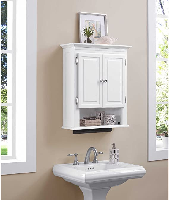 Amazon Com Wakefield 3 Shelf With 2 Doors Bathroom Wall Mount Cabinet In White Kitchen Dining