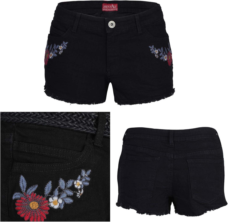 PHOENISING con fori strappati alla moda Pantaloni corti da donna taglia 6-20