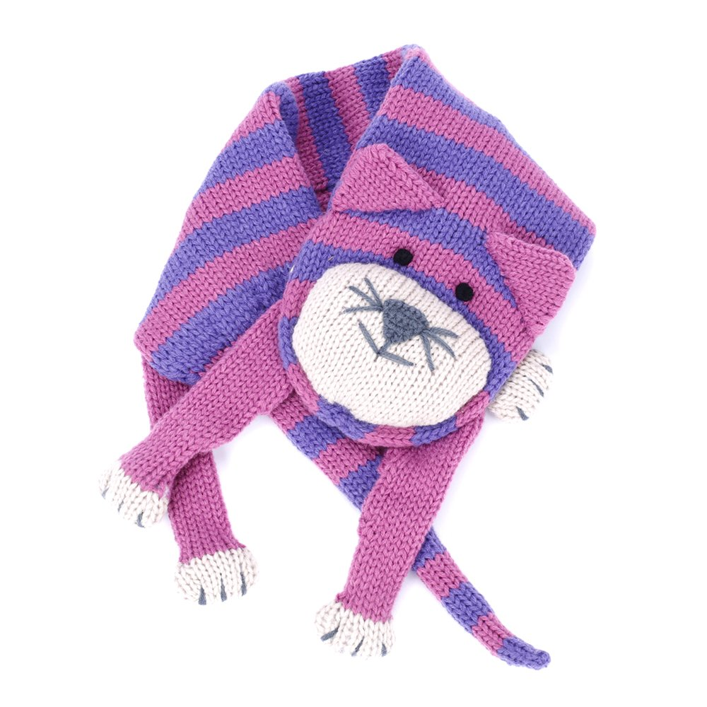 Stripe Cat Scarf ( snap closure) - Pink/Purple - One Size
