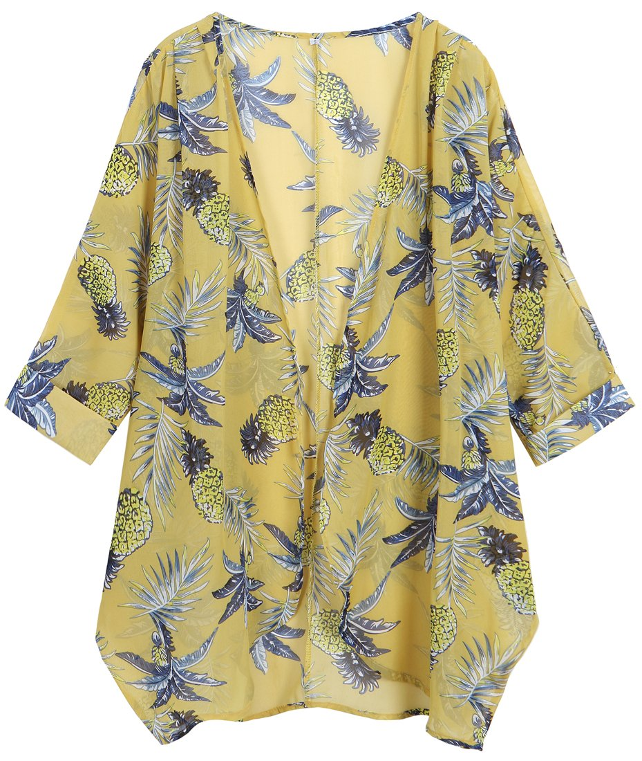 OLRAIN Women's Floral Print Sheer Chiffon Loose Kimono Cardigan Capes (X-Large, Yellow Pineapple)