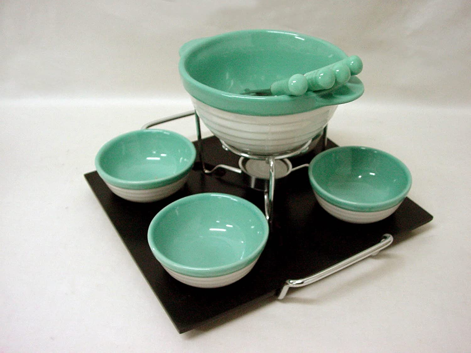 FONDUE PORCELANA CHOCOLATE QUESO CARNE BASE 4 CUENCOS REDONDA VERDE 400ML + 120ML www.working-house.com