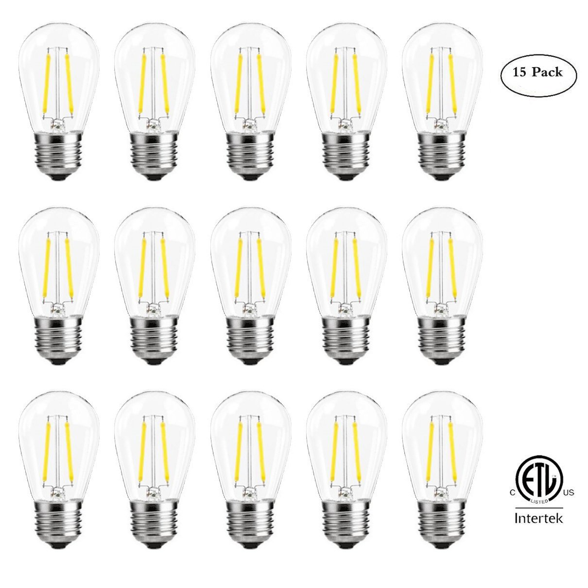 S14 LED Filament Bulbs 2W, Vintage Edison Led Light Bulbs,20Watt Incandescent Bulb Equivalent, 2700K (Warm White), 200 lumens, Great for String Lights, Commercial Lighting, Patio, Wedding, 15 Pack